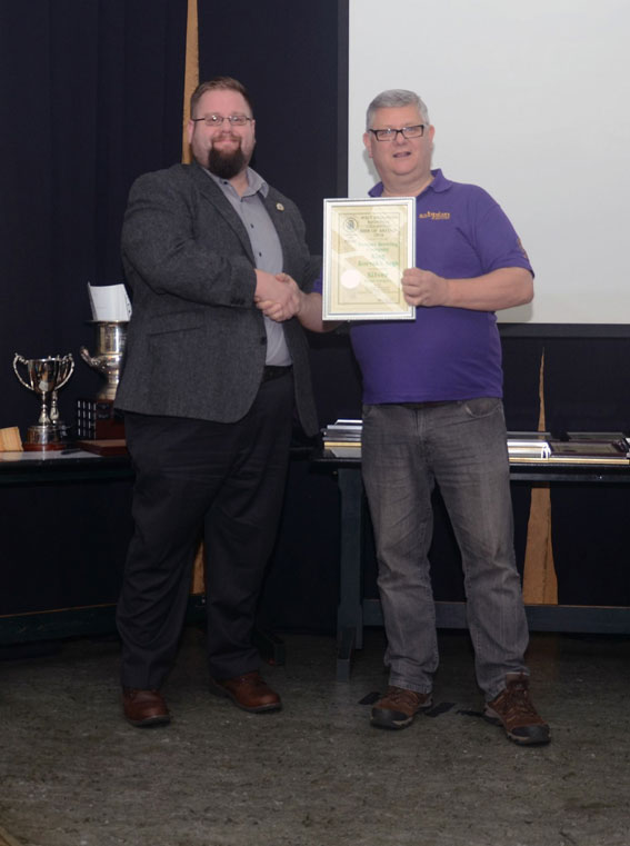 James receiving award for King Korvak's Saga CAMRA 2016