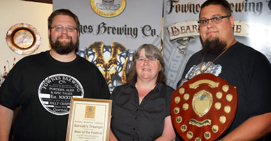 James and Tom receiving award from Wolverhampton CAMRA beer festival 2013