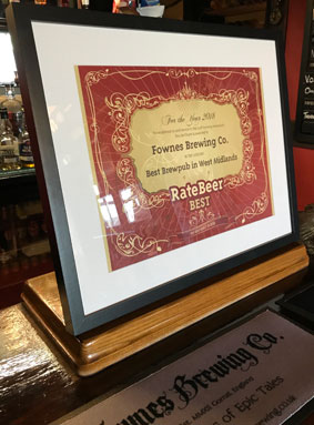Rate Beer award 2018 for Best Brew Pub in West Midlands
